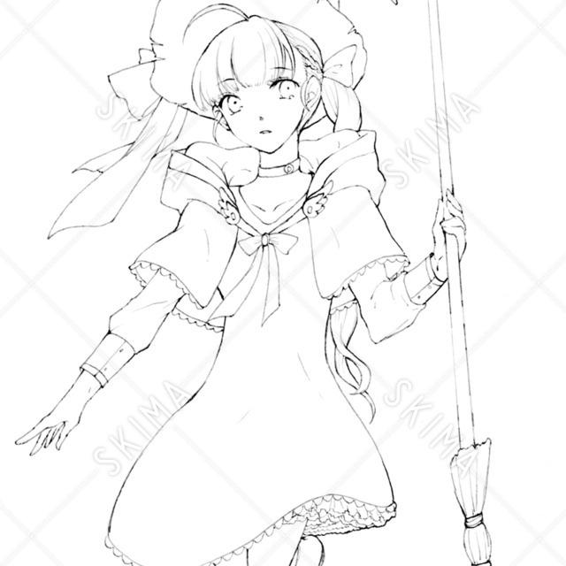 線画 ロリっ子/魔法少女
