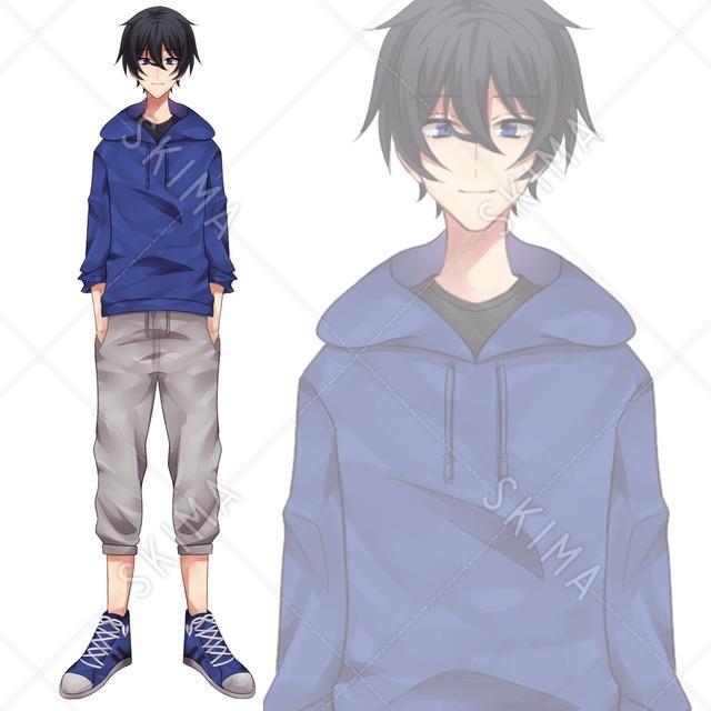TRPG等に!表情差分16種類、パーツ分け済:パーカーを着た男の子立ち絵イラスト