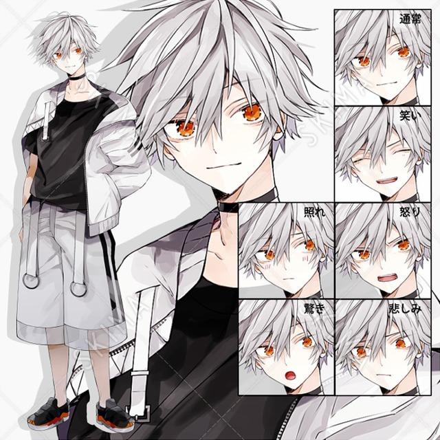 ダウナー系少年(ポーズ2種/表情6種/著作権込み)