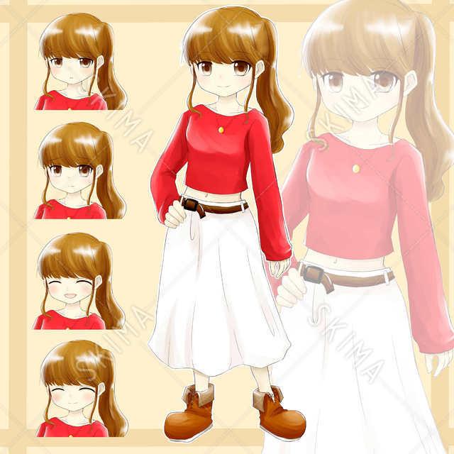 女の子(立ち絵+表情差分5種類)