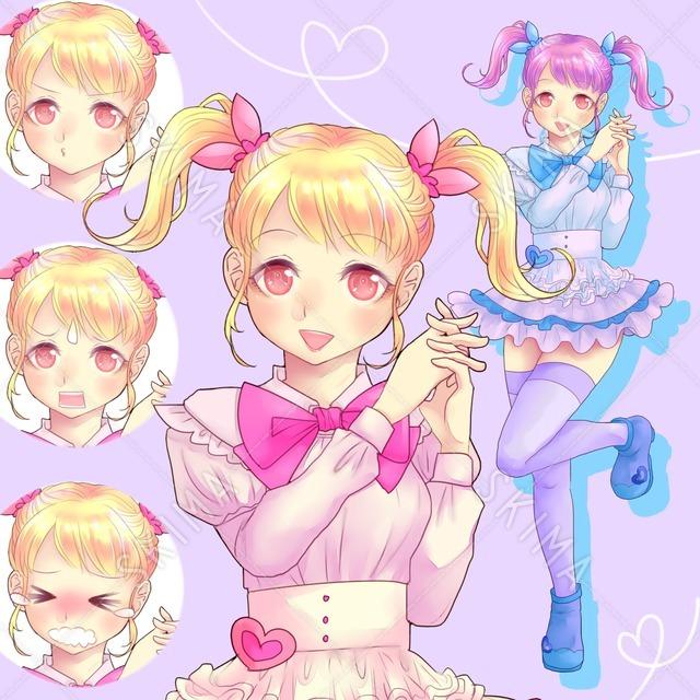 ロリータな女の子(表情4種・2色組)