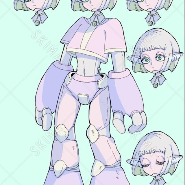 ヒト型ロボット(立ち絵+表情差分4種)