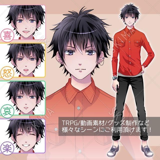 カジュアル・男性キャラクター(表情5種類)