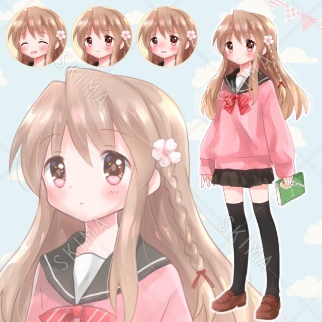桜ピンとセーターの女子高生