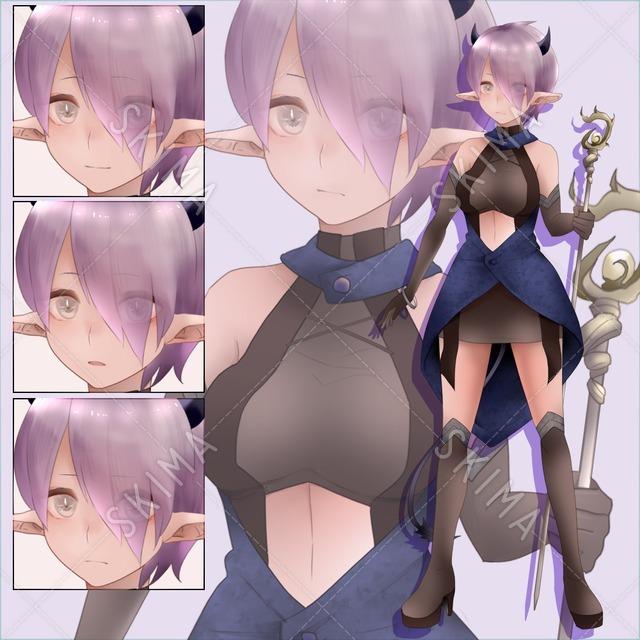 【値下げ】褐色肌の悪魔女子(表情4種)