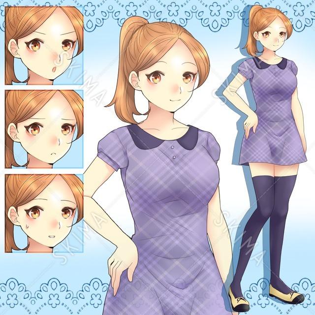【値下げ】ポニーテールの女の子(表情4種)