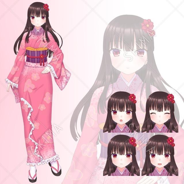 【色変更可】着物の女の子【表情5種】