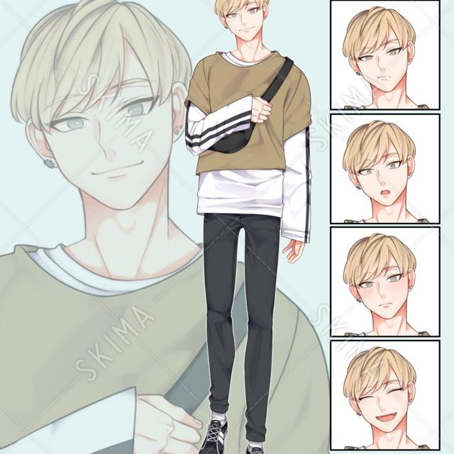 現代風金髪男子(表情5種類)