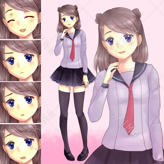 【値下げ】セーラー服の女の子(表情5種)