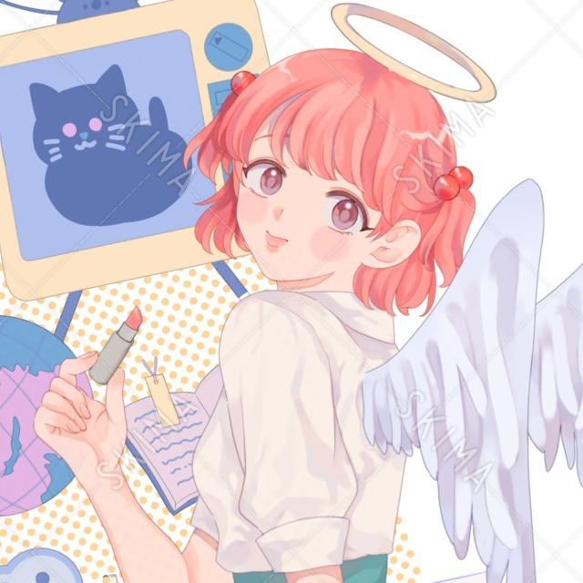 天使のピンク髪女の子