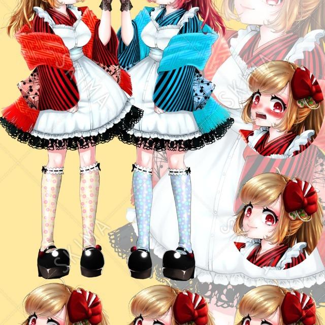 和服/大正ロマン メイド 女の子 二色セット