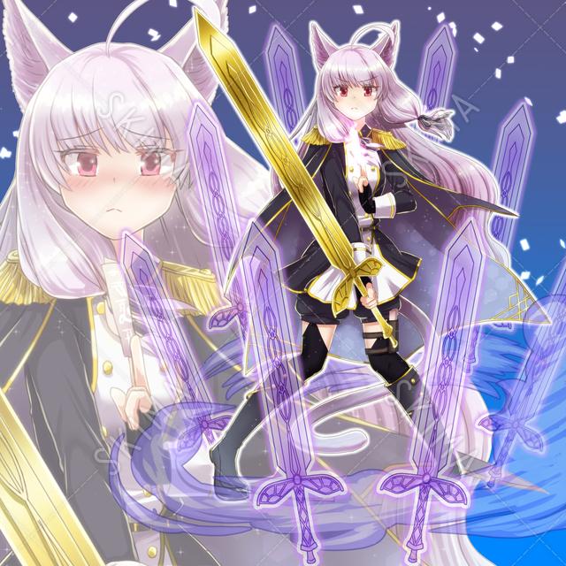 女の子/剣士/御札使い/ネコ耳(表情8種/エフェクト込みで差分24枚)