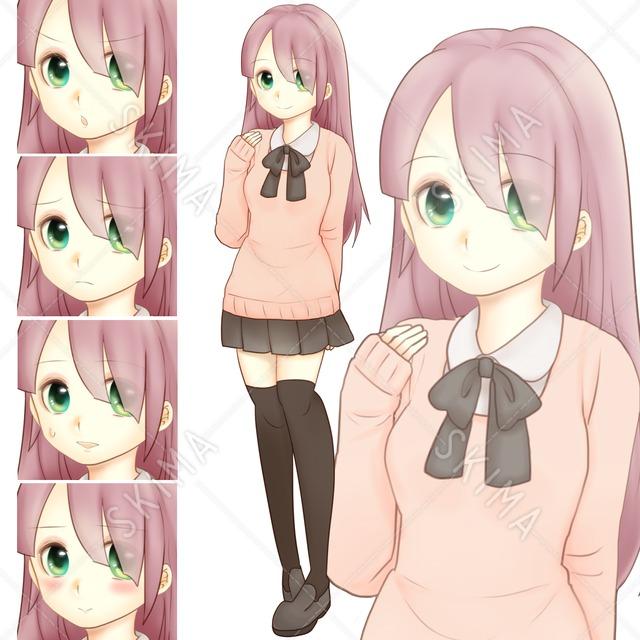 ロングヘアの女子高生(表情5種)