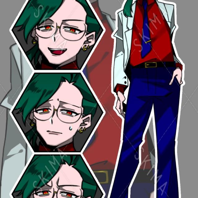 【著作権料込】白ジャケットのキャラクター【表情4種/アイコンおまけ付】