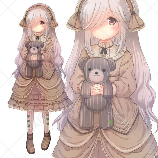 抱っこされたクマ(と、女の子)表情5種★