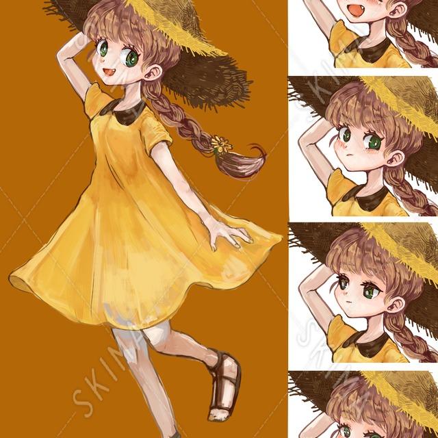麦わら帽子の女の子(立ち絵+表情差分4種)