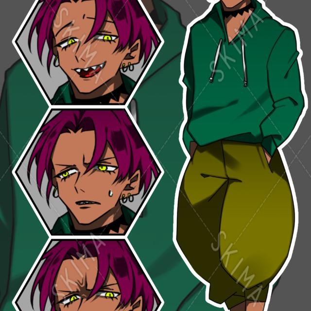 【お値下げしました☆】目付きが悪い褐色青年のキャラクター【著作権料込】