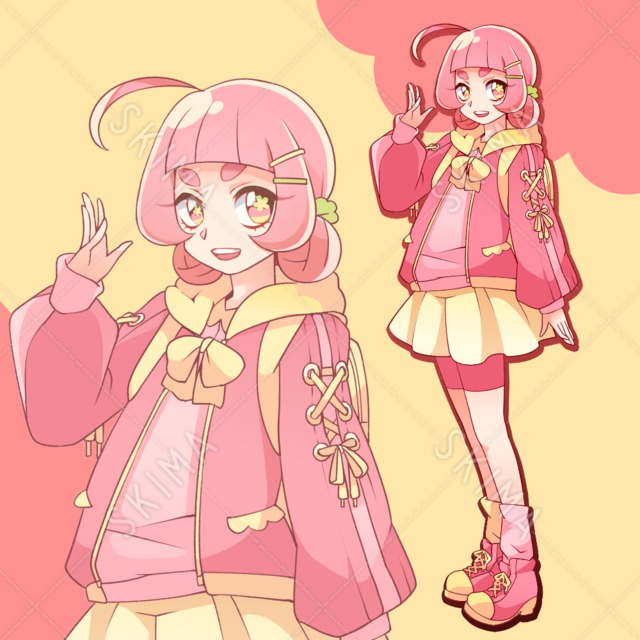 ピンク髪お団子 甘めコーデの女の子