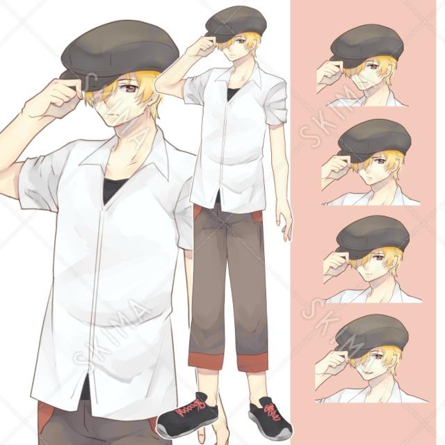 帽子金髪男の子