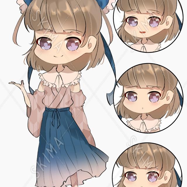 【色変更無料】和服キャラ