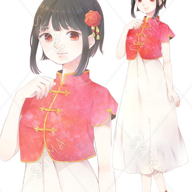 チャイナ服の少女【表情差分あり】