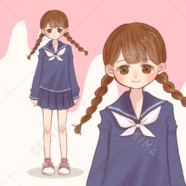 三つ編み制服女の子 表情差分など4枚