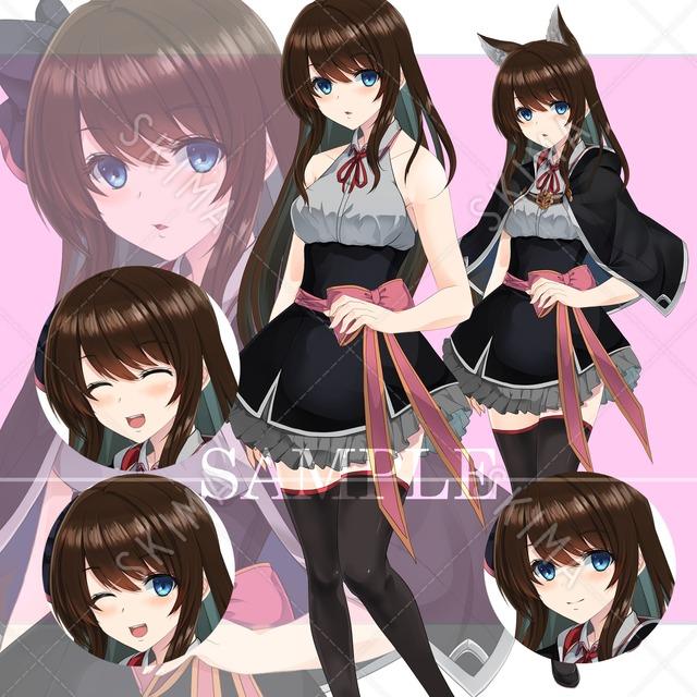 ファンタジー少女(表情4種+服装差分2種+髪飾り差分2種)