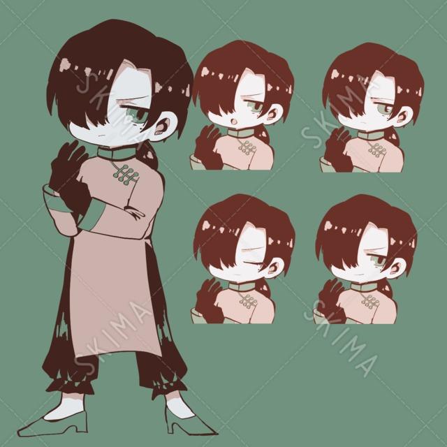 チャイナ男の子立ち絵+表情差分4種セット
