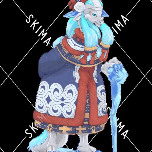 雪国衣装の老竜人