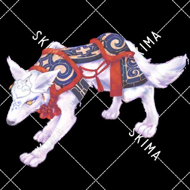 雪国民族衣装のオオカミ