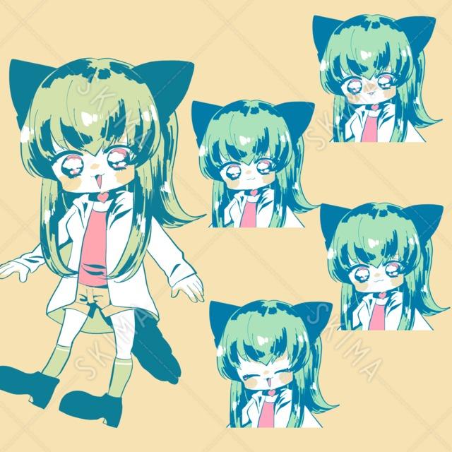 猫耳の女の子立ち絵+表情差分4種セット