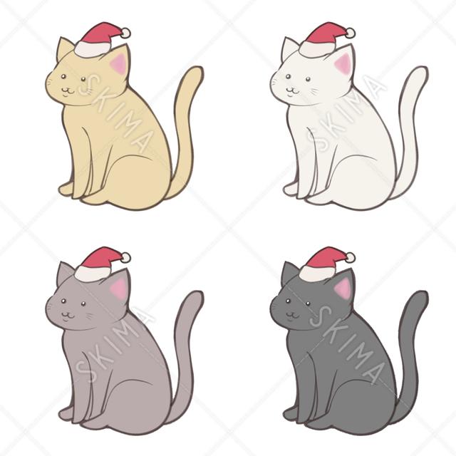 猫 クリスマス 4カラー