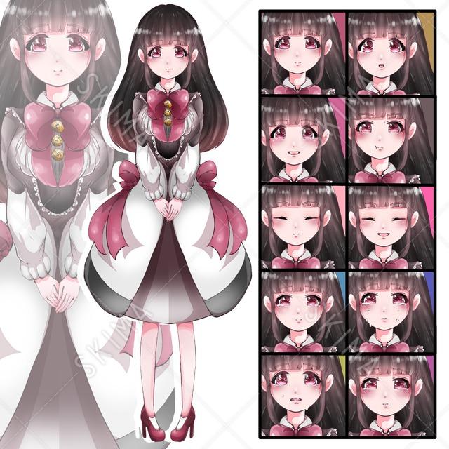 お嬢様(お上品なお姉さん)の立ち絵セット【表情差分10種類】