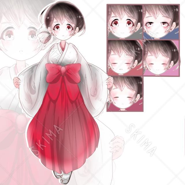 巫女風の可愛い女の子のキャラクター