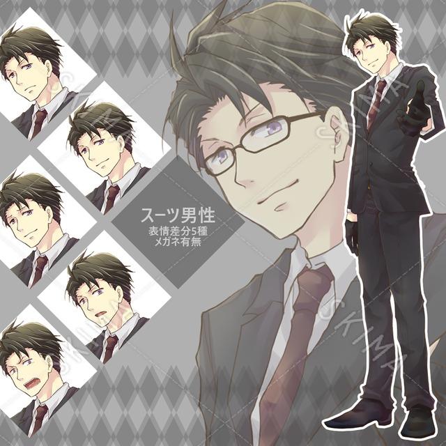 スーツ男性(メガネ有無)