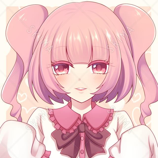 SNSアイコン ピンク髪の女の子