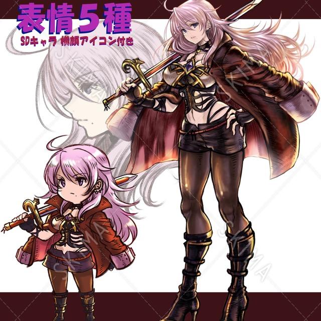 女剣士 表情5種 SDキャラ、横顔アイコン付き