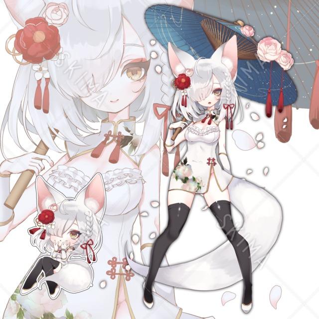 【表情差分2種+SD付】銀狐チャイナガール