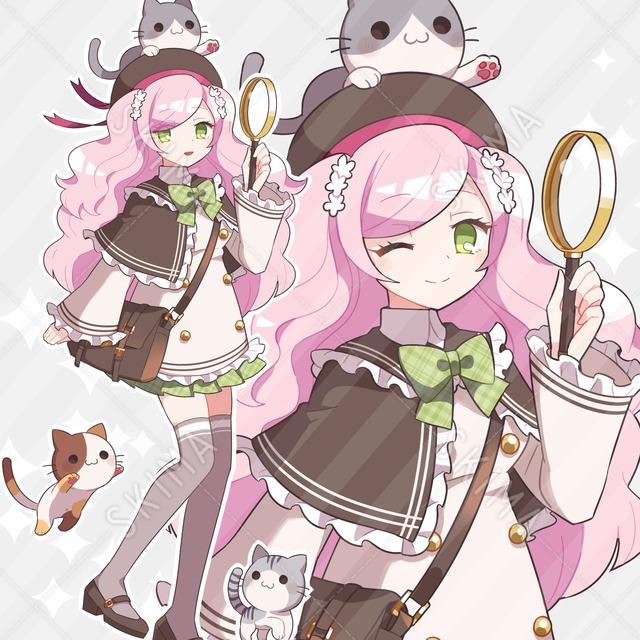 春色探偵風ガール+お供猫