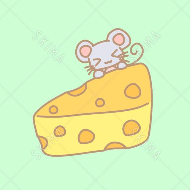ねずみとチーズ【全5枚背景あり/無し/線画】