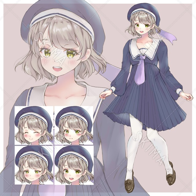 制服の女の子① 表情差分4枚