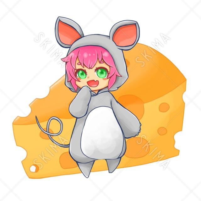 ネズミ着ぐるみっ子(チーズ付き)