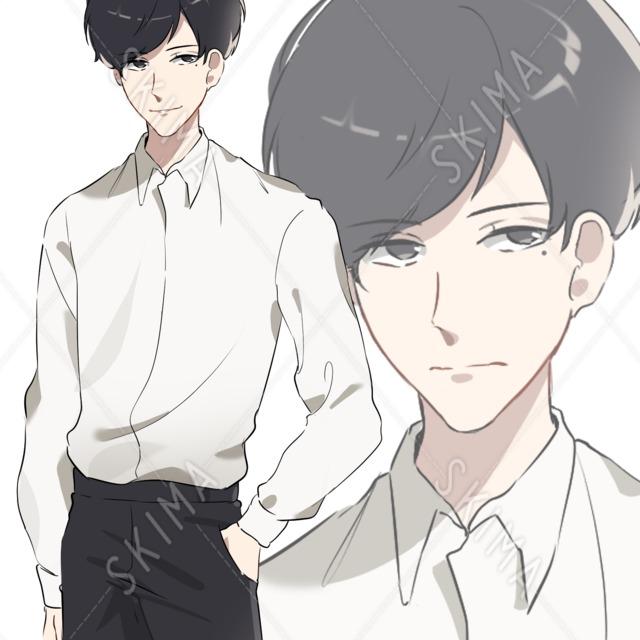 シンプルシャツの男性(ニーアップ)【表情2種】