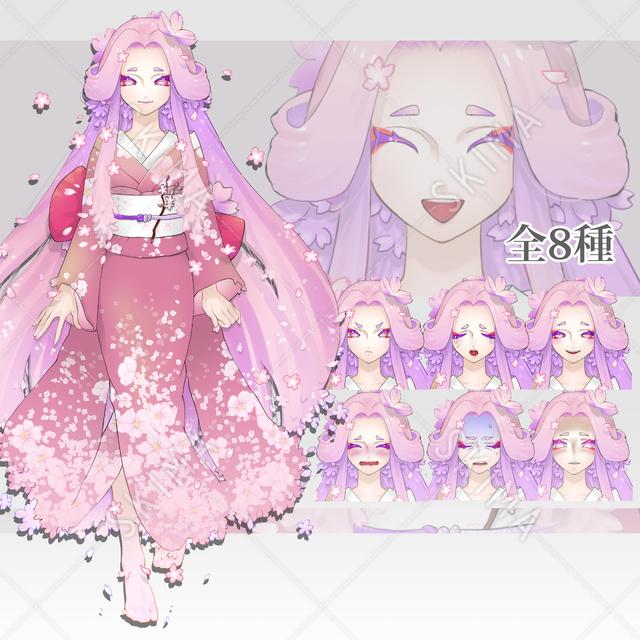 桜の精 和風ピンク髪女性