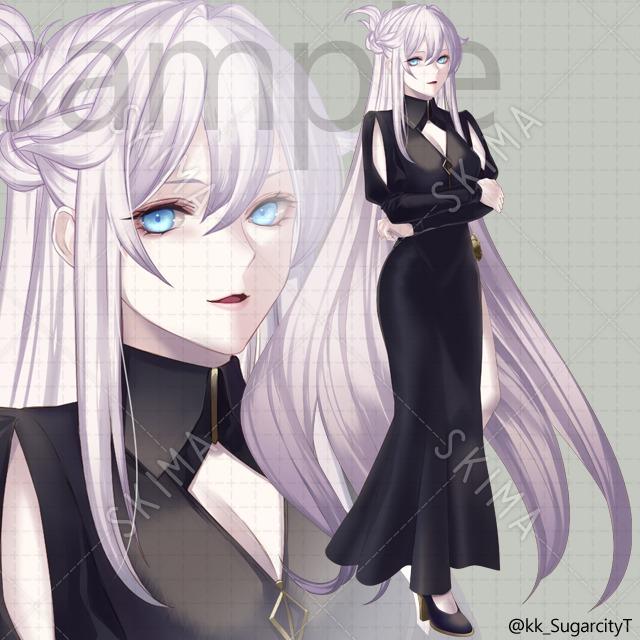黒服女性キャラクターの販売(差分有)