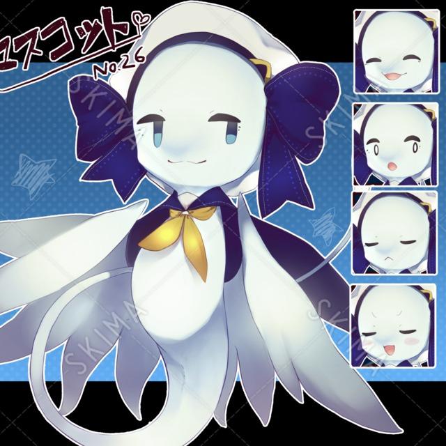 【マスコット風】セーラー風の白イルカモチーフ