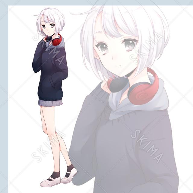 ヘッドホン+女子高生【立ち絵・アバター】