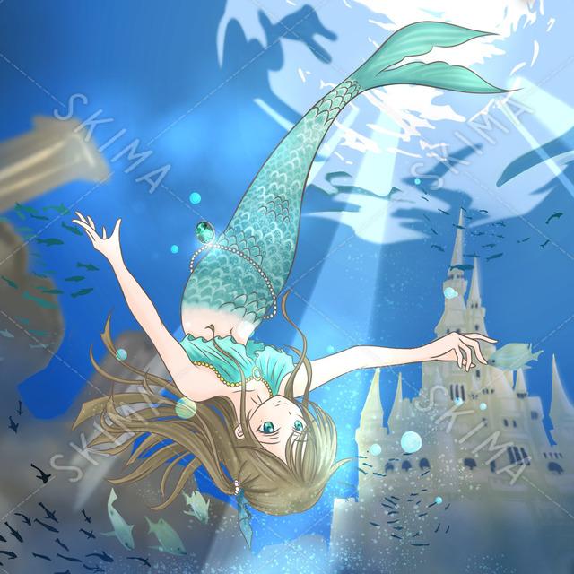 水中 人魚 イラスト 背景セット