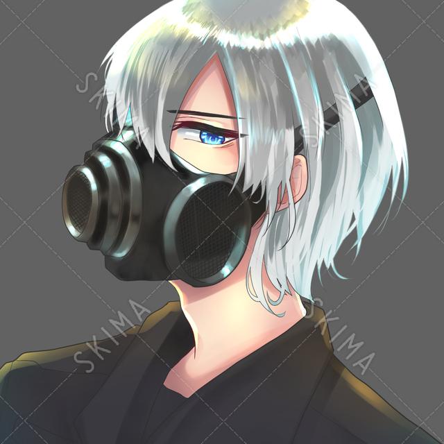 【SNSアイコン】ガスマスク銀髪キャラ