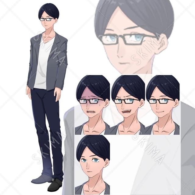 眼鏡男性 眼鏡差分付き